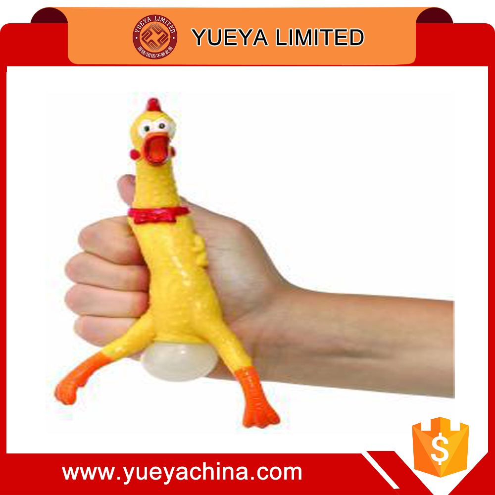 Wholesale china market small size yellow rubber Screaming Chicken relieve stress sound toys
