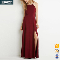 Fashion Sexy Open Leg Evening Dress Red for Women Long Dresses