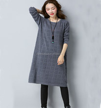 CFP C620 Wholesale Stocked Cashmere Winter/Autumn Dresses Long Sleeve Clothings Crochet Mesh Hollow Out Dress