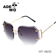 ADE WU 2016 latest fashion gradient clear lenses cutting rimless sunglasses 2016 women