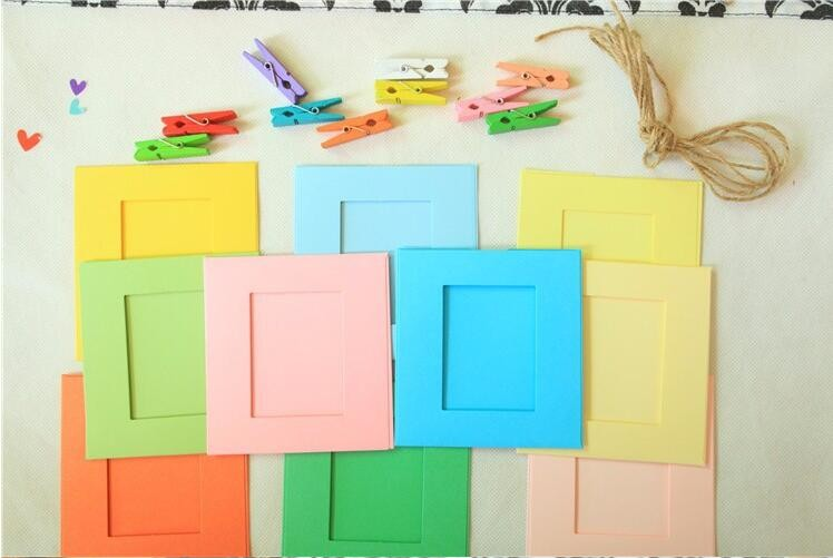 Mini Simple Style Various Colors Picture Frame Paper Films Photo Frame + Wooden Clip+2m Hemp Rope