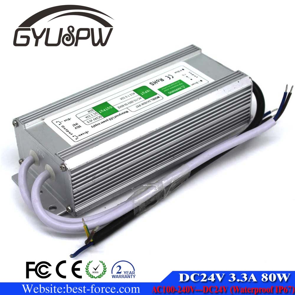 IP67 Waterproof Electronic LED driver 3.3A 80W 24V DC Power Supply Switching For Outdoor LED Strip display Lighting CNC CCTV