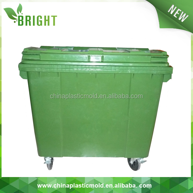 Square green large dustbin with wheels 660l plastic waste bins