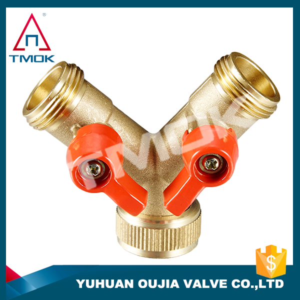 double y type pipe ball valve for gas male BSP/NPT thread aluminum handle control manual power three way flow to water TMOK