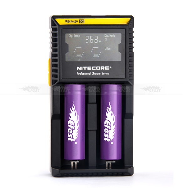18650 battery charger Nitecore d2 charger CE. Rohs, KCC approved charger for IMR / Li-ion / LiFePO4 batteries