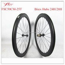 U-SHAPE Farsports 700C carbon road bike wheelset 50mm x 25mm tubeless ready , Bitex hubs 24/28H , more durable and stable !