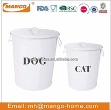 White Powder Coating metal pet food storage containers