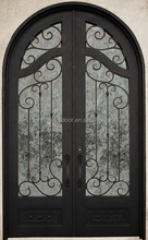 2016 safety entrance door transparent iron door with scroll work and glass window for hotels, villas decoration for Europ market