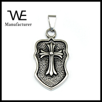 Retro Fashion Punk Stainless Steel Dog Tag Pendant with Cross
