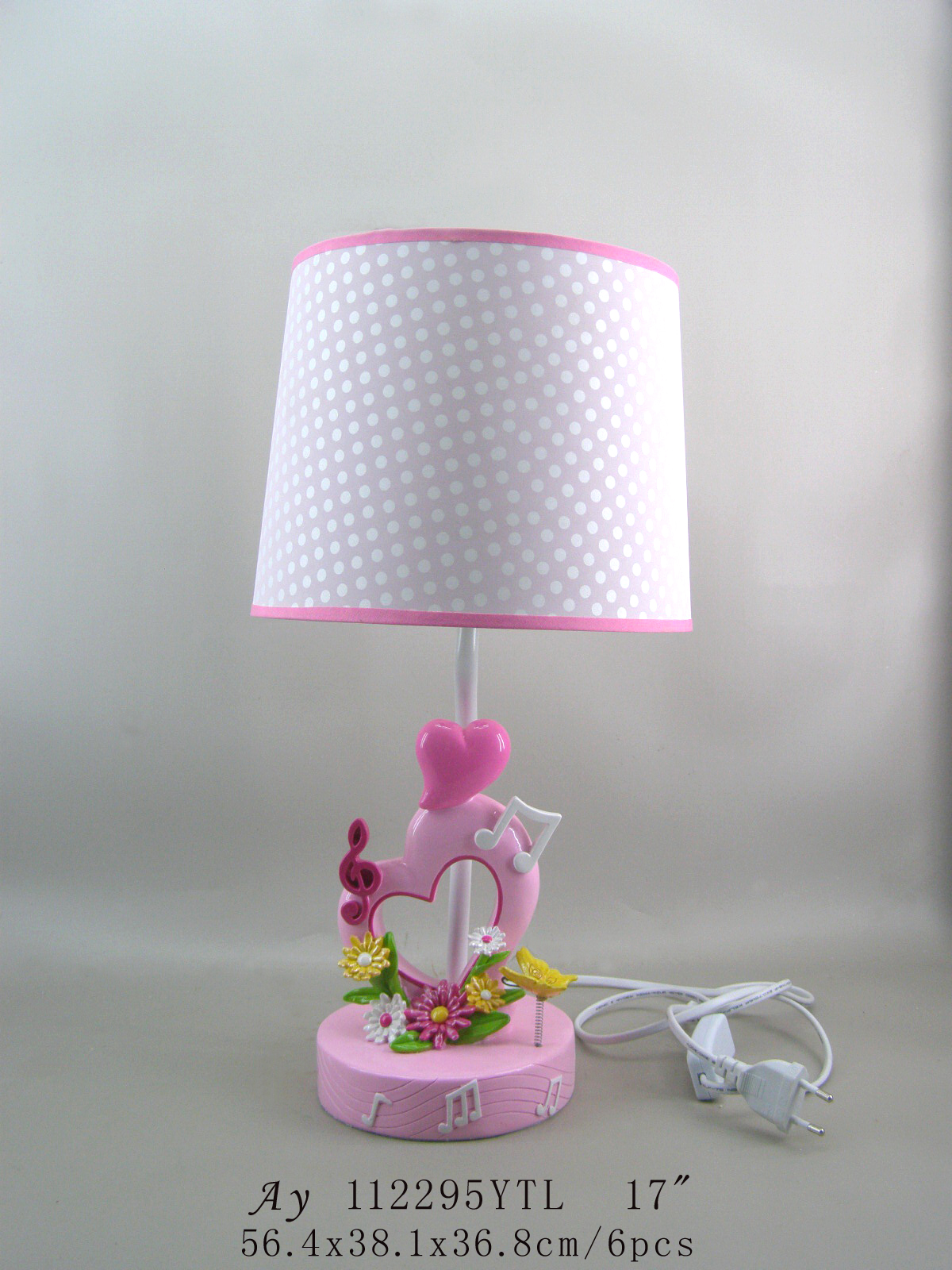 Low voltage pink cartoon heart shape table lamp for girl gifts