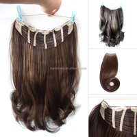 One piece clip in with thickness brown hair weavy