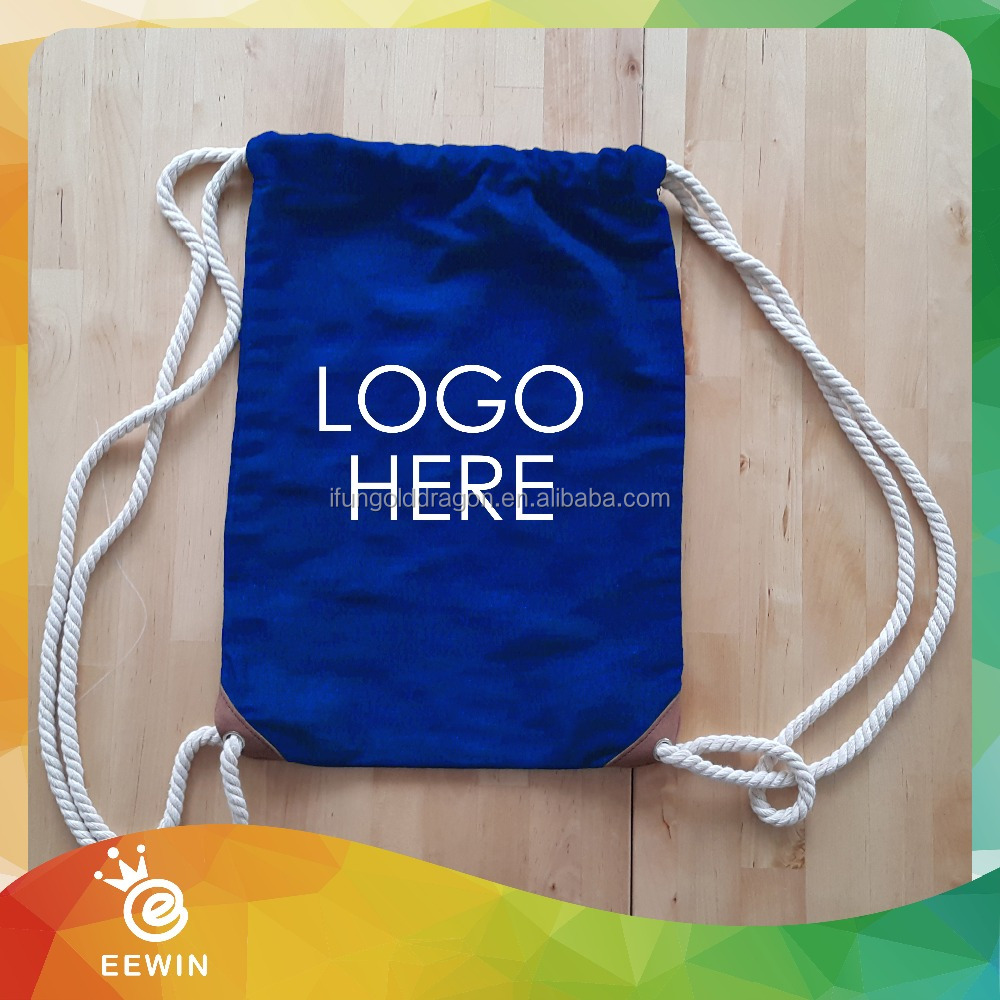 Sports Gym Printed Logo 20oz Canvas Cotton Drawstring Cinch Bag