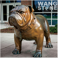 Garden Ornament Life Size Metal Bronze Bulldog Sculpture