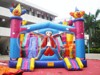 Commercial inflatable cute cartoon toys jumping bouncer slide for kids, inflatable clown double slide bouner combo