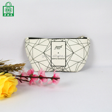 Wholesale custom luxury leather canvas mesh cosmetic makeup bag with zipper