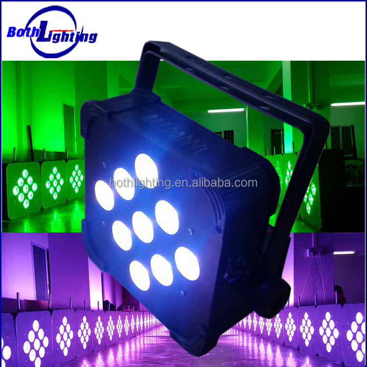Top selling battery powered DMX 9 x5W RGBAW 5in1 Wireless LED par can DJ light