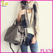 New Stylish Vintage Wool Blend Women&Men Geometric Plaid Scarf Wrap Winter Warm Fleece Scarf Shawl