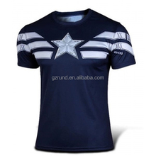 Slimming Stylish Round Neck Color Block Captain America Design Short Sleeve Polyester T-Shirt For Men