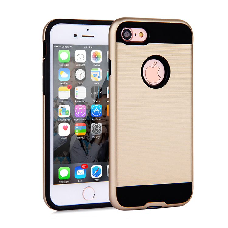 Luxury shockproof hybrid pc tpu wiredrawing mobile case for iphone 5/5s