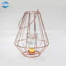 floor standing copper metal wire tealight candle holder