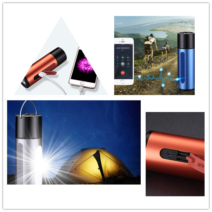 2017 New 3 In 1 Best Waterproof Bluetooth Speaker Bluetooth with bike holder 5200mAh power bank led light mini bluetooth speaker