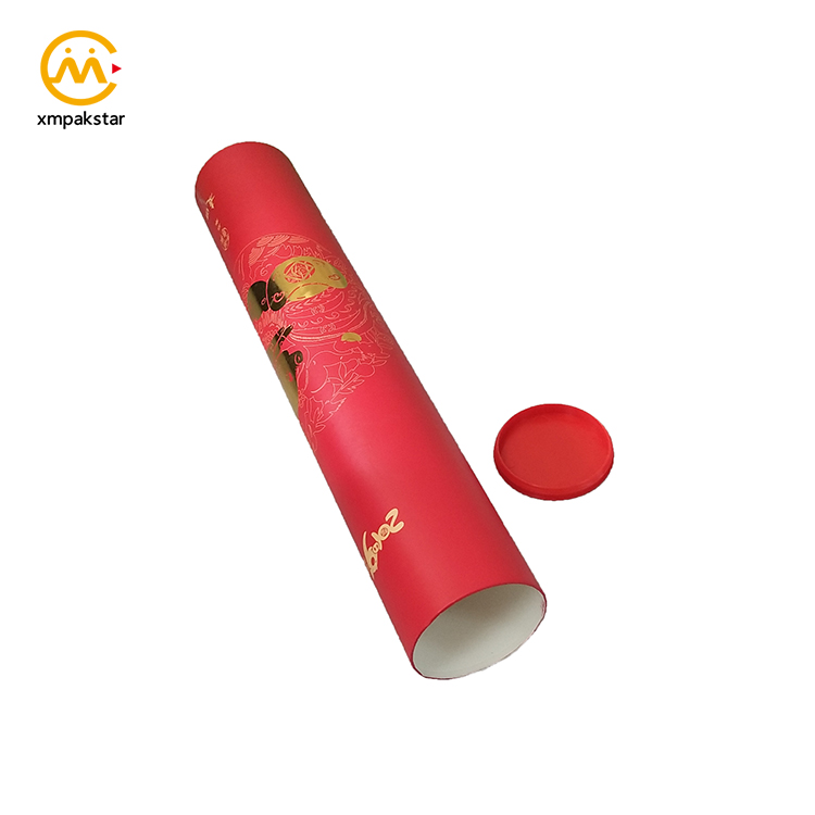 Eco hot-stamping paperboard poster packaging red paper tube with end cap