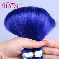 2017 Hot sale Color Blue High Quality 100% Indian Remy Tape Hair Extension Can be Curled Wholesale Tape In Human Hair Extensions