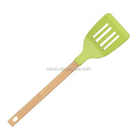 High Quality Silicone Slotted Turner With Wooden Handle Silicone Kitchen Cooking Utensils