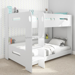 triple bunk bed white solid wood 3 sleeper bed frame double&single size