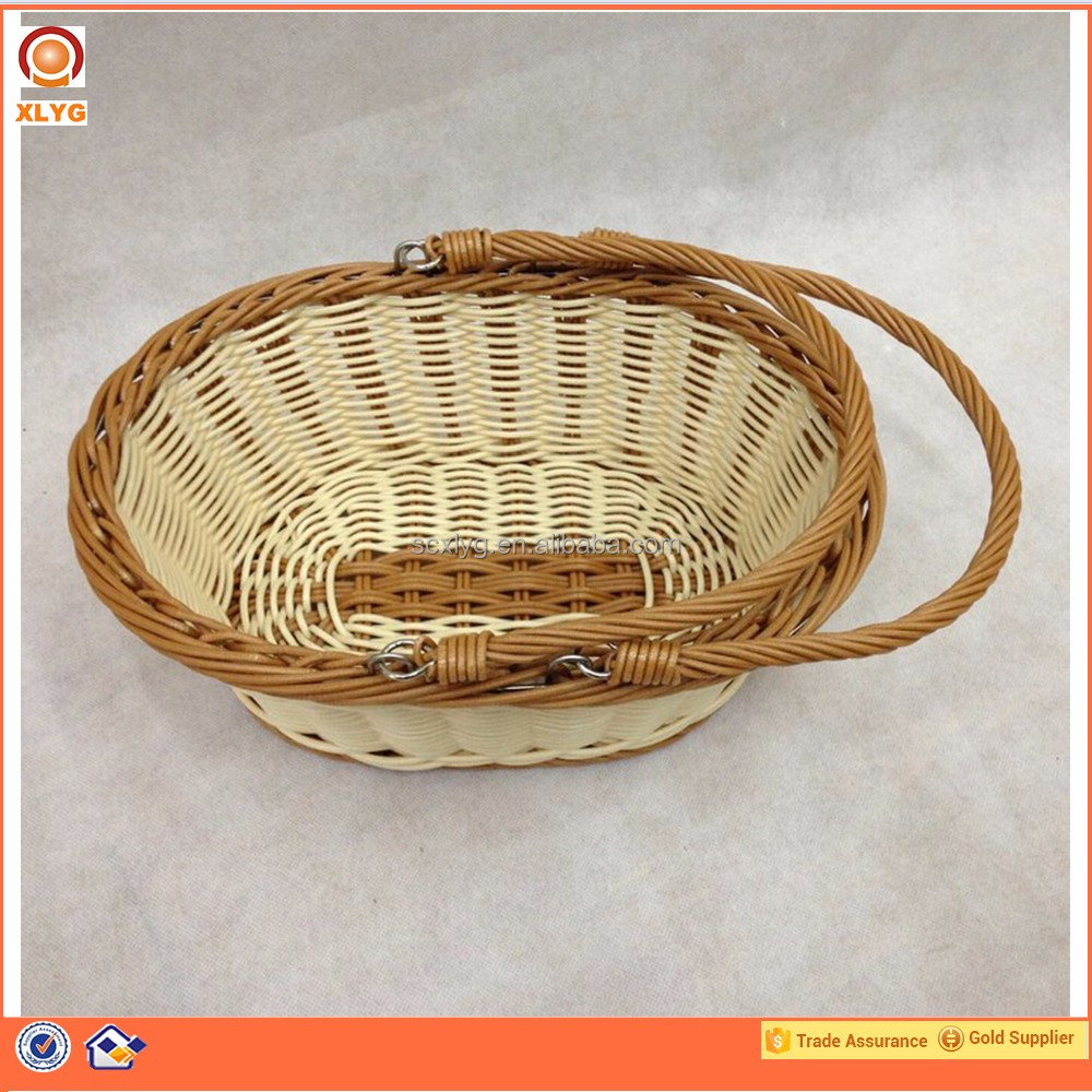 Custom felt small handle basket wicker plastic oval basket bread basket