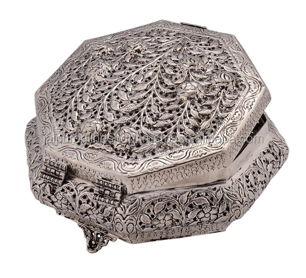 Home Decorative Products Indian White Metal Jewelry Box
