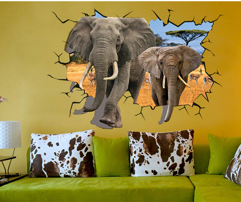 3D Elephant animal wall sticker for kids room decoration Item SIS-07 stock for retail selling