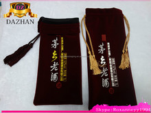 high quality velvet wine bottle bags with tassel and bead