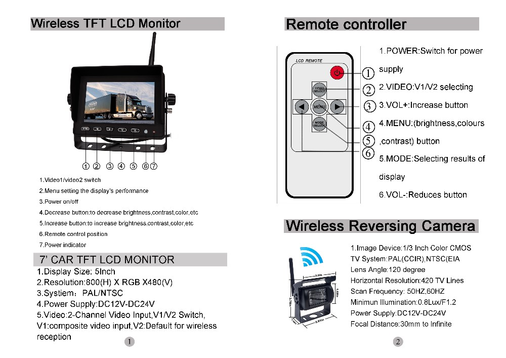 Factory Direct Sales camera monitor system for bus reversing kit