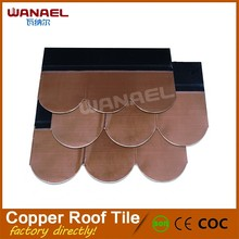 Guangzhou China Supplier Wanael Fish-Scale Asphalt Base Pure Copper Roof Shingles