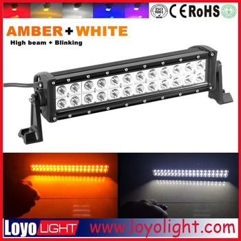 Amber White color flash led bar 13inch 72W dual row offroad led light bar