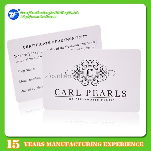 Guangzhou plastic simple certificate of authenticity card