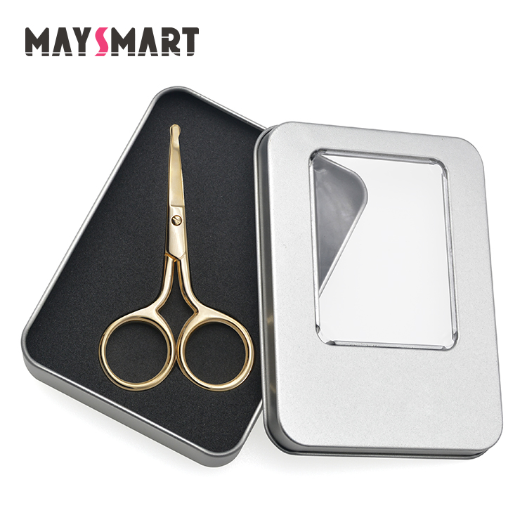 Rose Gold Curved Manicure Scissors for Eyebrow Nasal Hair Eyelash