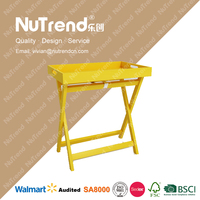 Yellow Portable Folding Food Serving Tray Wood Side Coffee Table With Handle