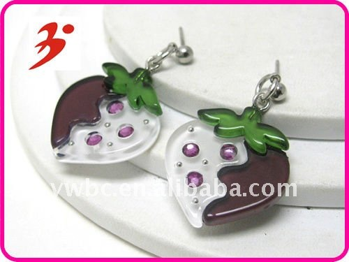 Yiwu alloy silver acrylic stone deco strawberry kids cute earring (E100622)