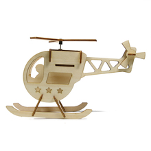 Helicopter 3D Wood Puzzle Solar Power Helicopters Wooden Puzzle DIY Assembly Education Toys For Kids
