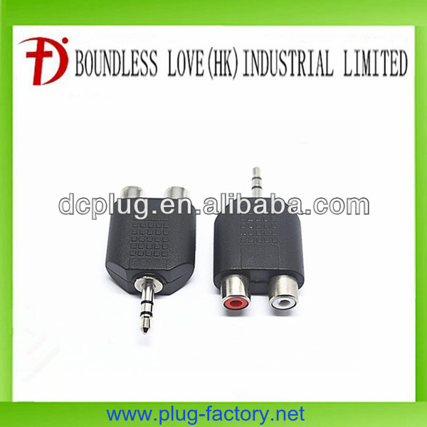 Male to female connector 3.5mm audio jack with 2 rca jack