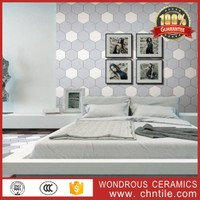 New design lowest price four color grey dark blue black white bedroom hexagon wall and floor tile