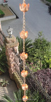 8feet Lotus Hammered Copper Rain Chains