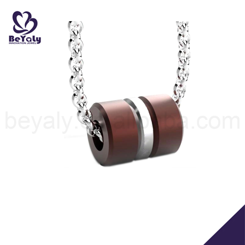 Cheap stainless steel cylinder hip hop wooden necklace