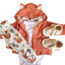 0-2 years Baby Clothing Cartoon Baby Clothes Set Little Fox Hooded Coat+Pants Newborn Baby Clothes F1