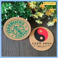 Eco-friendly screen print cork coffee cup mat