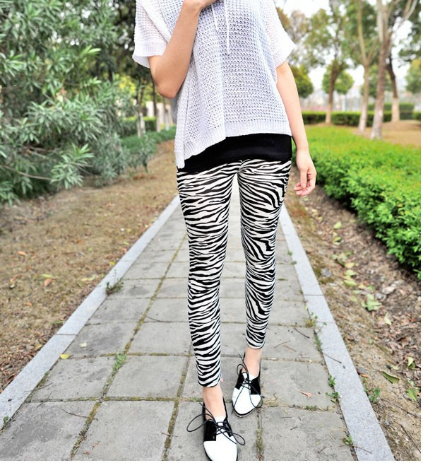Wholesale New Fashion Seamless Zebra Print High Stretch Denim Leggings Tight Casual Feet Pants 9511