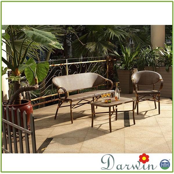 Poudre enduit en aluminium rotin meubles de patio for Meuble en rotin exterieur