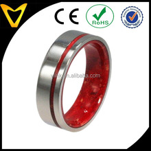 Titanium Ring with Red Box Elder Inner Sleeve and Pinstripe - Available in Stainless Steel